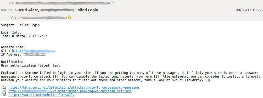Detalle alertas email