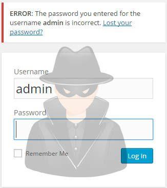 WordPress failed login