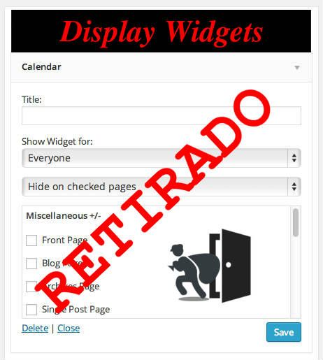 Retirado plugin Display Widget