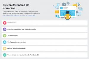 Captura de pantalla de Tus preferencias en Facebook - ¿Qué hace Facebook con mis datos?