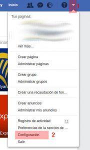 Menú configuración Facebook. Qué hace Facebook con mis datos