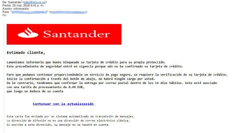 Captura Email Phising del Banco Santander