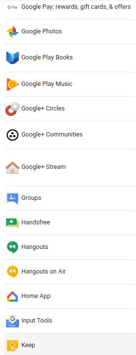 google listado apps b