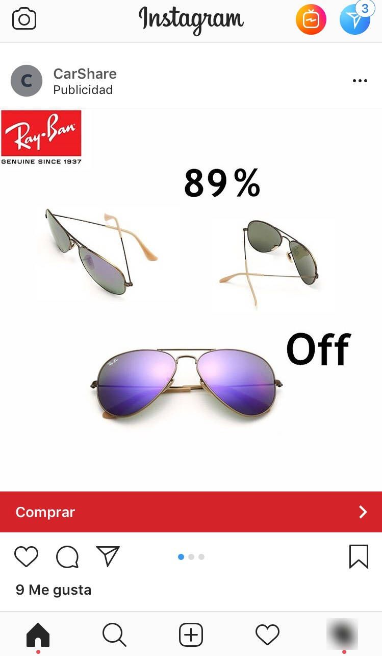 5fbb6f7ab Esta es la captura de la publicidad engañosa que me apareció en el timeline  de Instagram. CarShare publicidad en Instagram a tienda online falsa