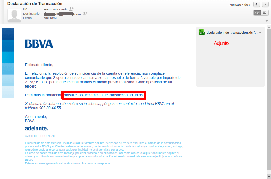 Captura phishing BBVA NetCash