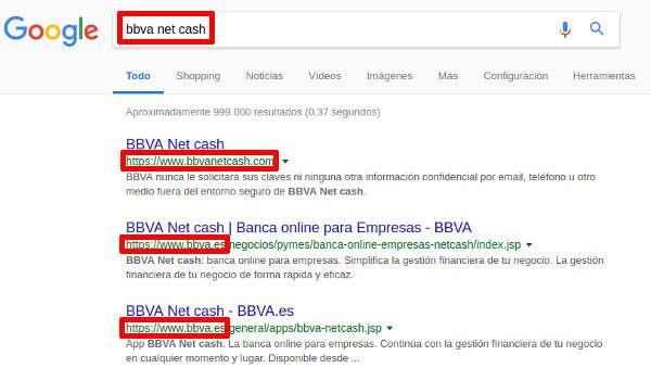 Phising BBVA - bbva net cash busqueda en google