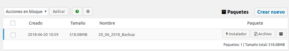 Captura backups con plugin Duplicator