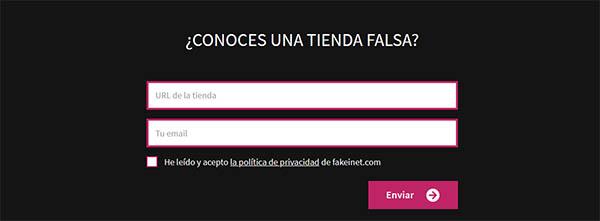 Fakeinet.com - formulario Avisanos